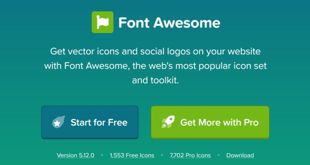 Font Awesomeの公式サイトのトップページ画像